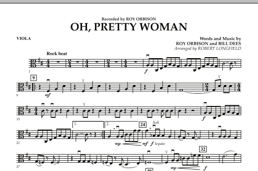 Robert Longfield Oh, Pretty Woman - Viola sheet music preview music notes and score for String Quartet including 1 page(s)