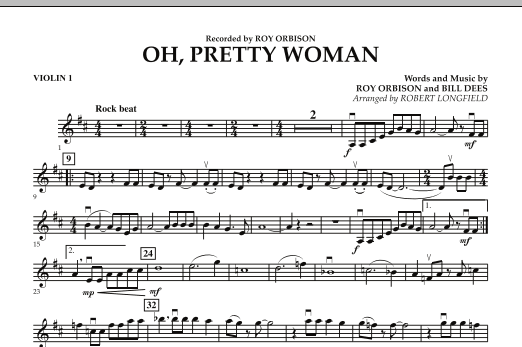 Robert Longfield Oh, Pretty Woman - Violin 1 sheet music preview music notes and score for String Quartet including 1 page(s)