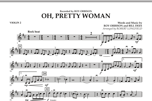 Robert Longfield Oh, Pretty Woman - Violin 2 sheet music preview music notes and score for String Quartet including 1 page(s)