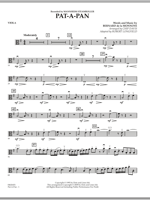 Robert Longfield Pat-A-Pan - Viola sheet music preview music notes and score for Orchestra including 2 page(s)