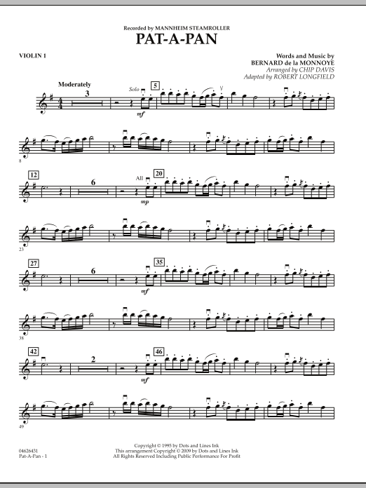 Robert Longfield Pat-A-Pan - Violin 1 sheet music preview music notes and score for Orchestra including 2 page(s)