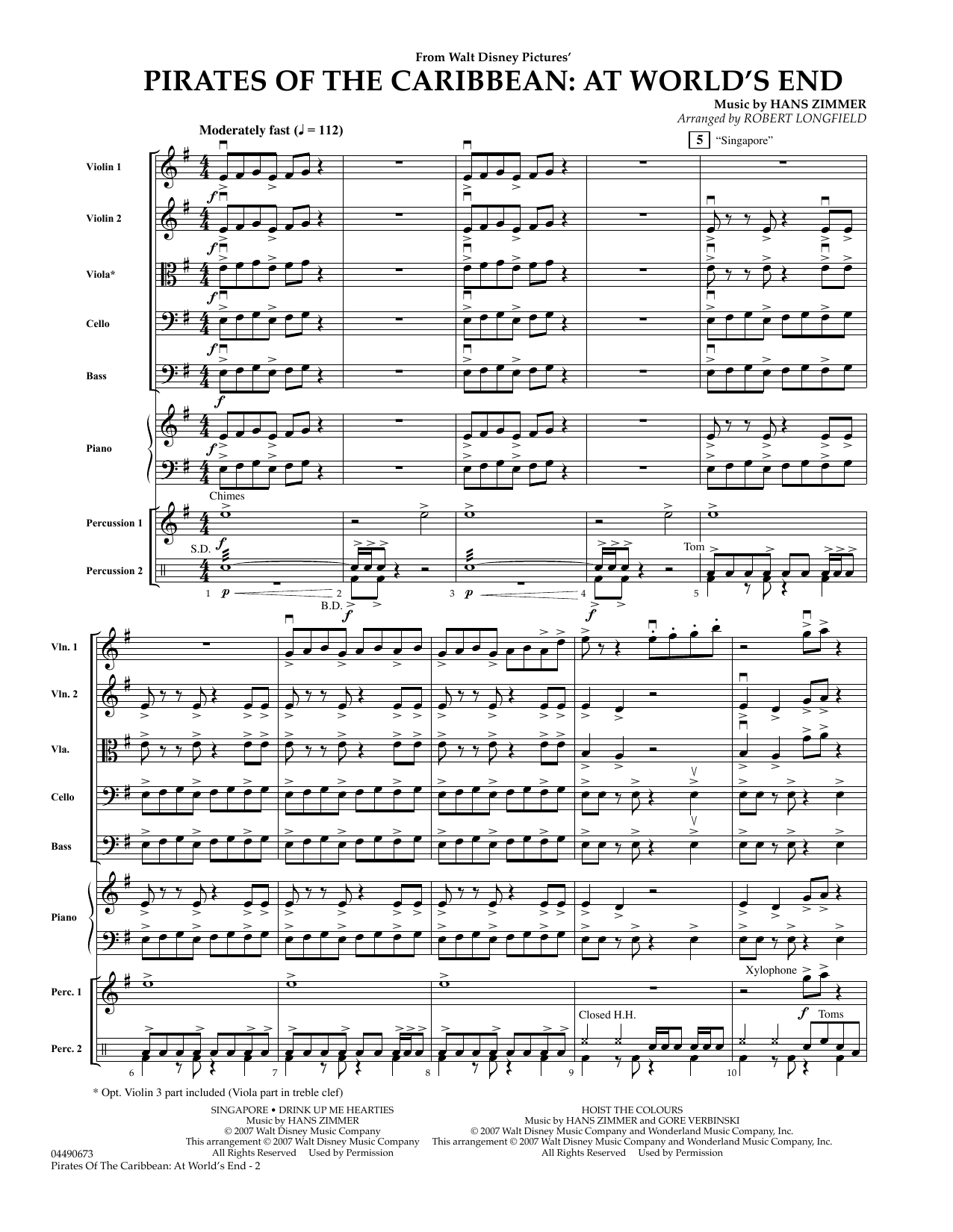 Robert Longfield Pirates of the Caribbean: At World's End - Full Score sheet music preview music notes and score for Orchestra including 6 page(s)