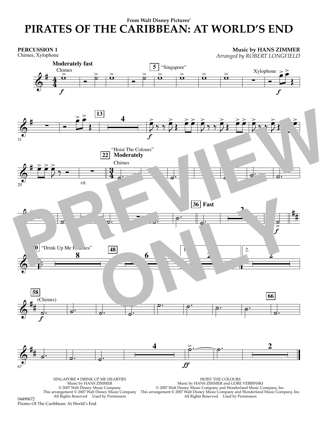 Robert Longfield Pirates of the Caribbean: At World's End - Percussion 1 sheet music preview music notes and score for Orchestra including 1 page(s)