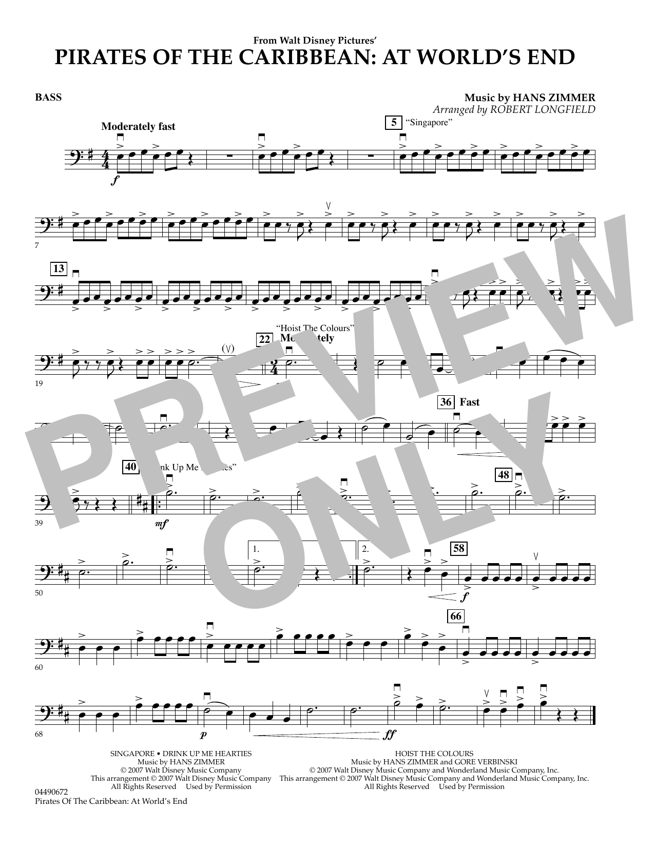 Robert Longfield Pirates of the Caribbean: At World's End - String Bass sheet music preview music notes and score for Orchestra including 1 page(s)