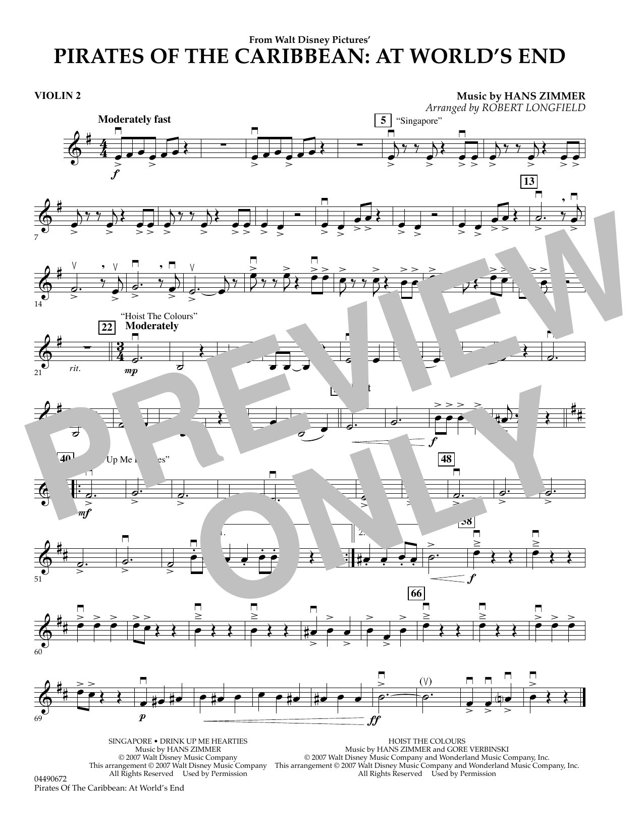 Robert Longfield Pirates of the Caribbean: At World's End - Violin 2 sheet music preview music notes and score for Orchestra including 1 page(s)