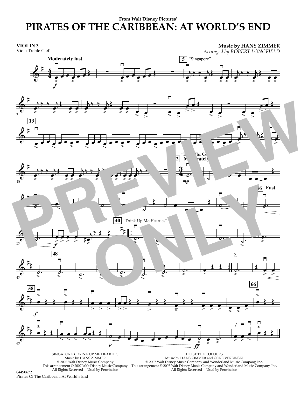 Robert Longfield Pirates of the Caribbean: At World's End - Violin 3 (Viola T.C.) sheet music preview music notes and score for Orchestra including 1 page(s)
