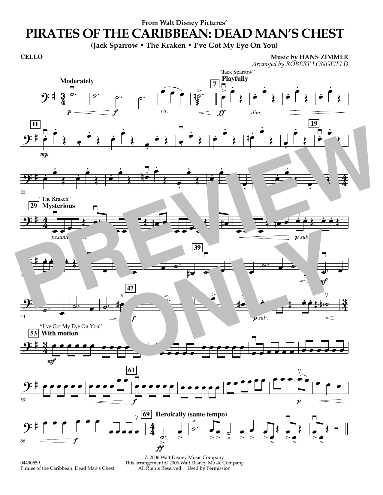 Robert Longfield Pirates of the Caribbean: Dead Man's Chest - Cello sheet music preview music notes and score for Orchestra including 1 page(s)