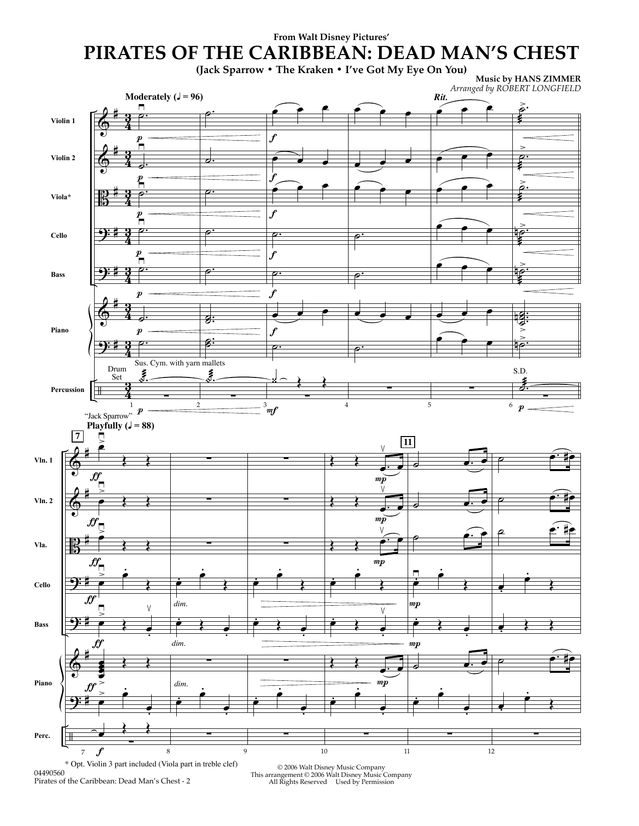 Robert Longfield Pirates of the Caribbean: Dead Man's Chest - Full Score sheet music preview music notes and score for Orchestra including 7 page(s)