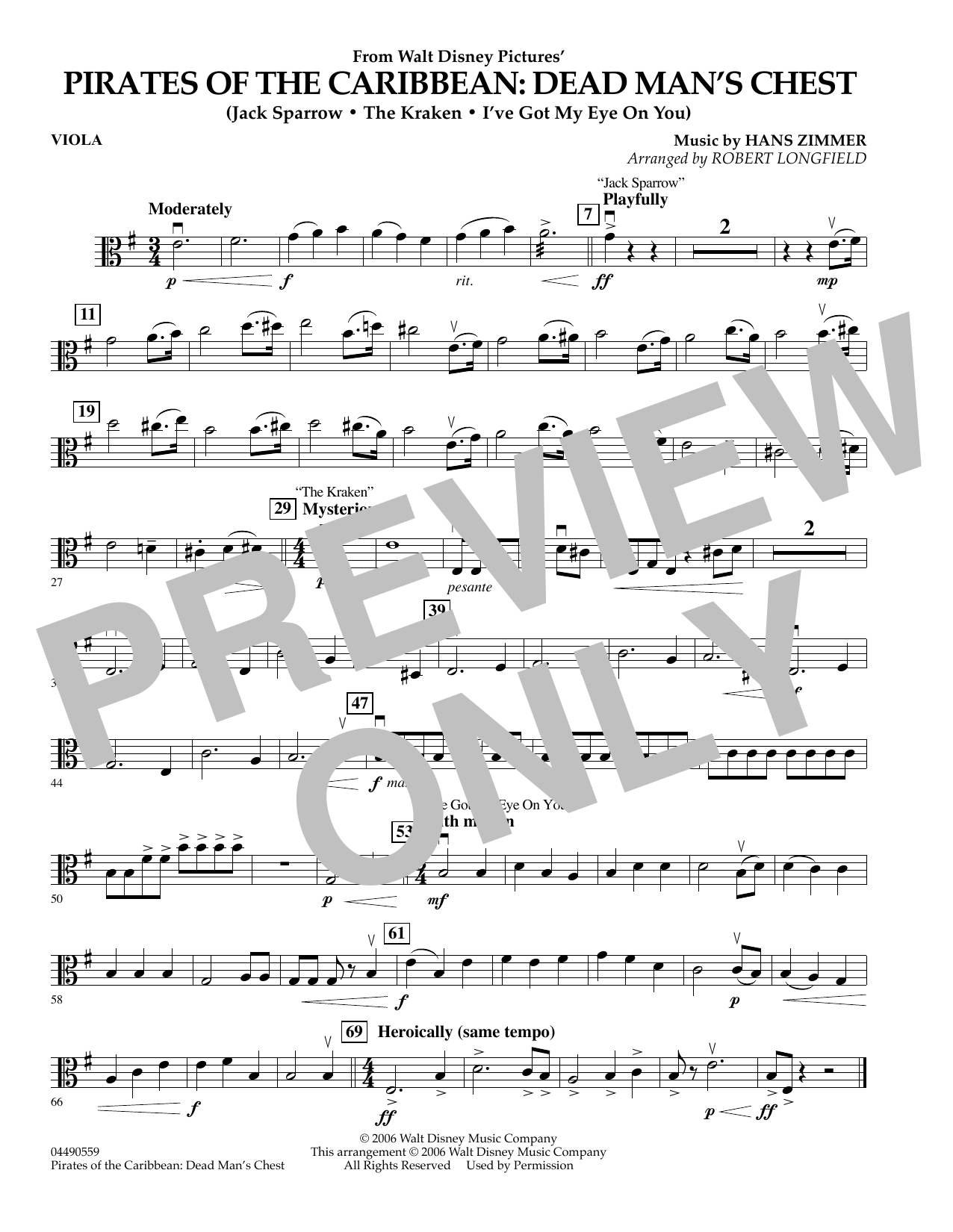 Robert Longfield Pirates of the Caribbean: Dead Man's Chest - Viola sheet music preview music notes and score for Orchestra including 1 page(s)