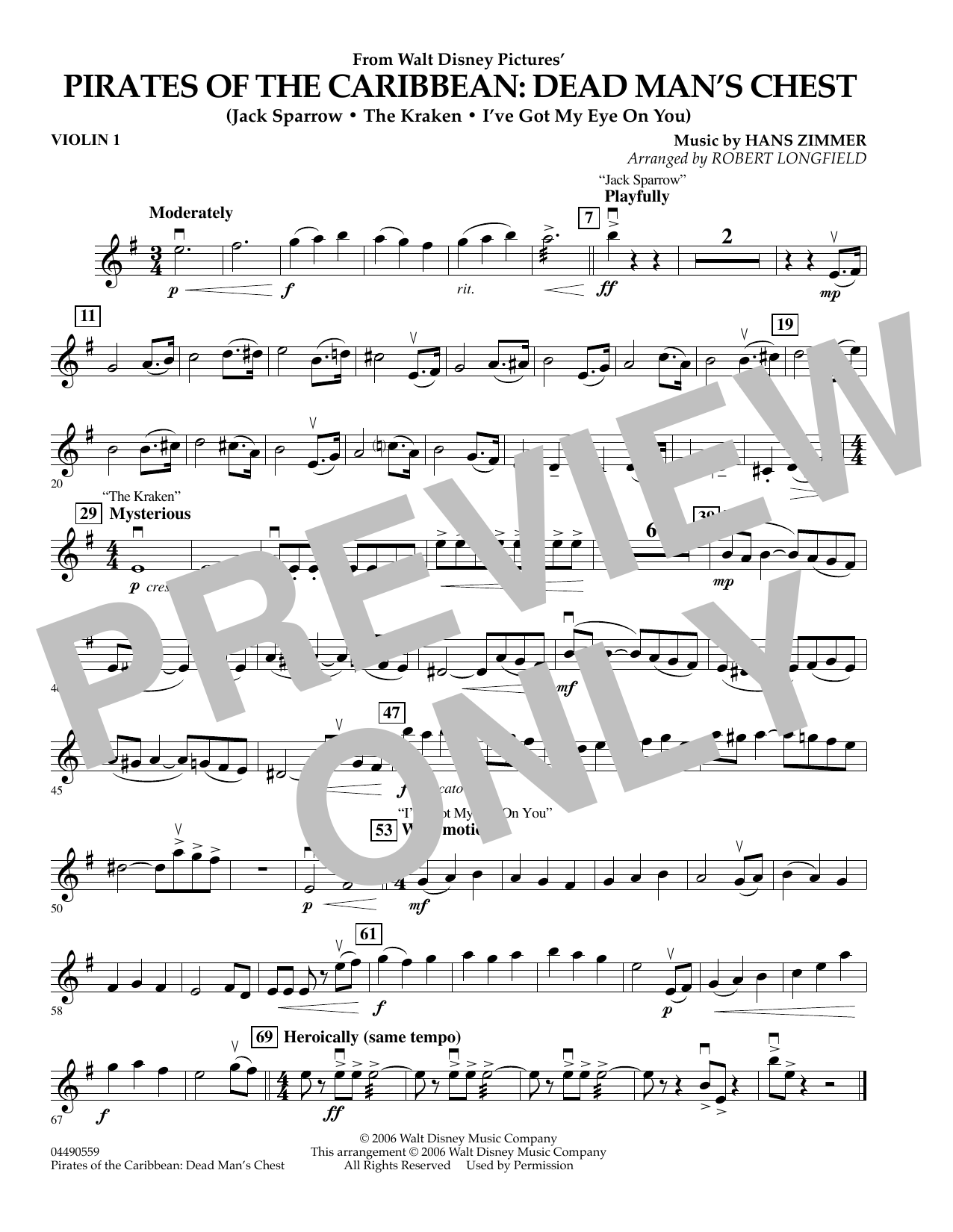 Robert Longfield Pirates of the Caribbean: Dead Man's Chest - Violin 1 sheet music preview music notes and score for Orchestra including 1 page(s)