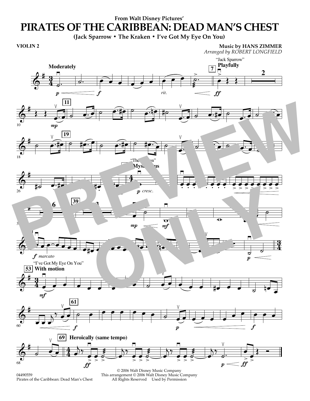 Robert Longfield Pirates of the Caribbean: Dead Man's Chest - Violin 2 sheet music preview music notes and score for Orchestra including 1 page(s)