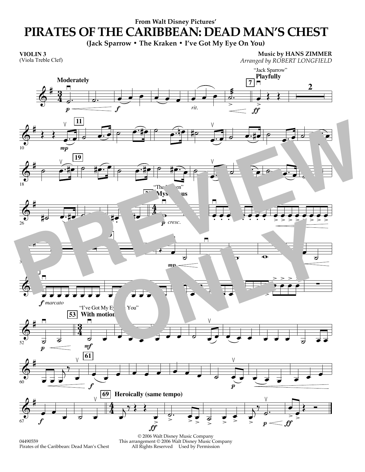Robert Longfield Pirates of the Caribbean: Dead Man's Chest - Violin 3 (Viola Treble Clef) sheet music preview music notes and score for Orchestra including 1 page(s)