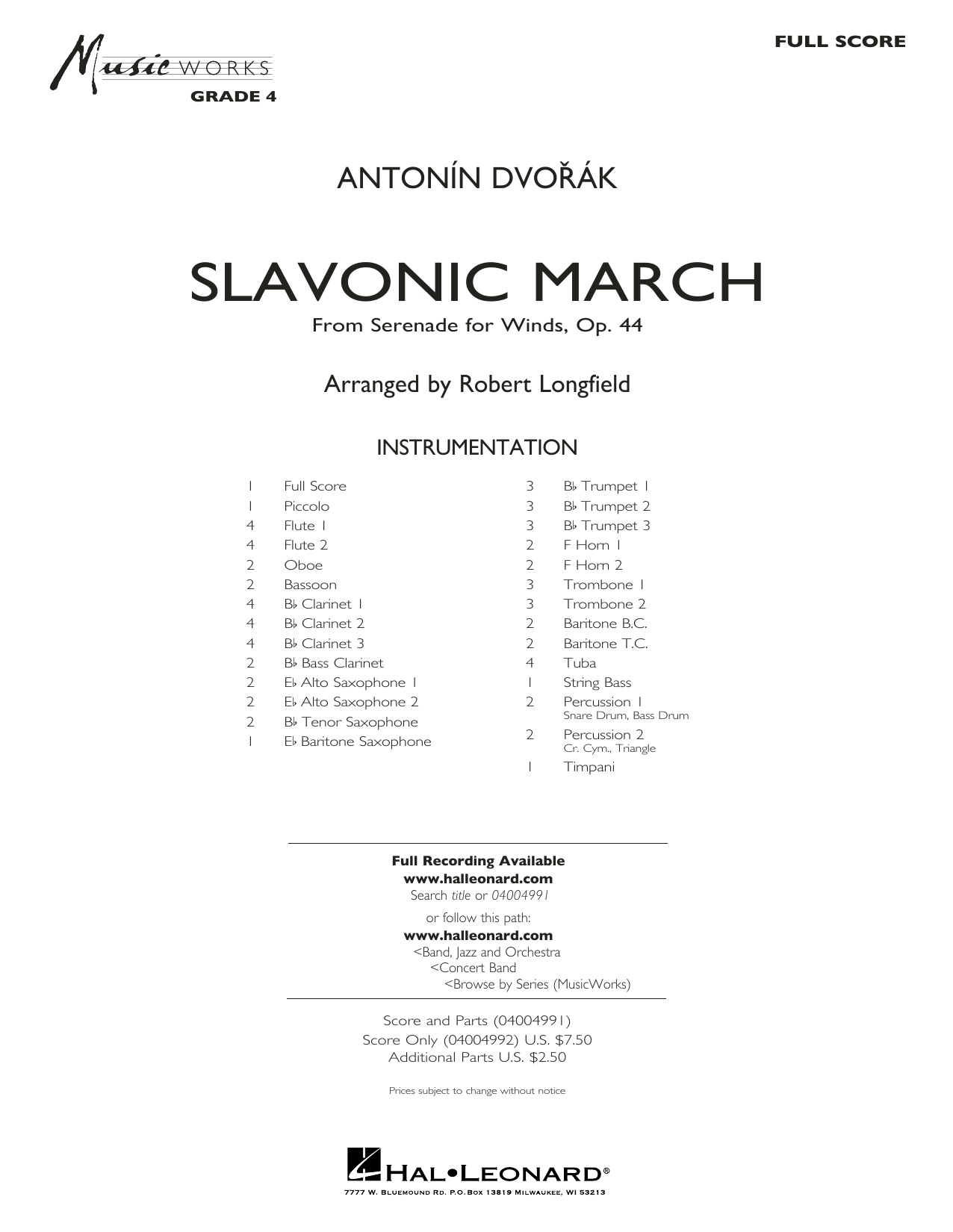 Robert Longfield Slavonic March (from Serenade for Winds, Op. 44) - Conductor Score (Full Score) sheet music preview music notes and score for Concert Band including 16 page(s)