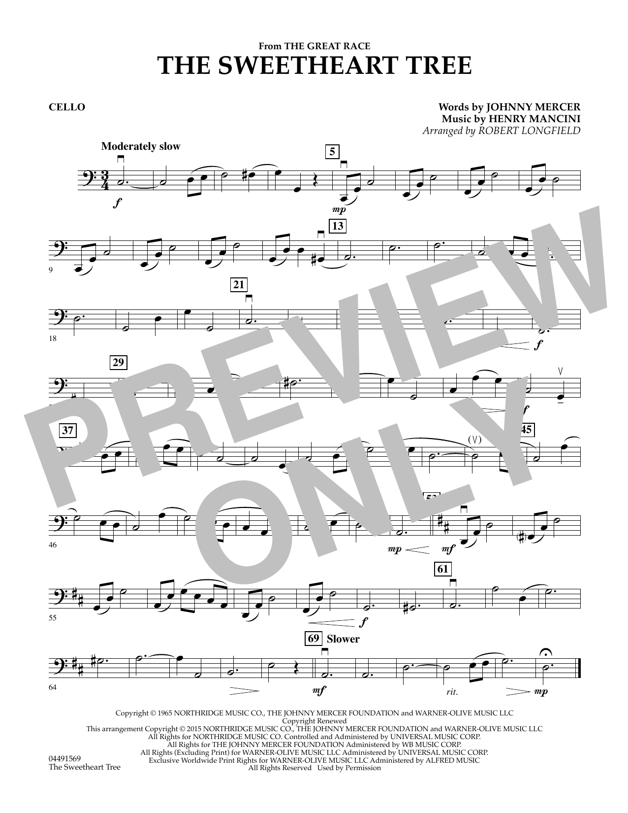 Robert Longfield The Sweetheart Tree - Cello sheet music preview music notes and score for String Quartet including 1 page(s)