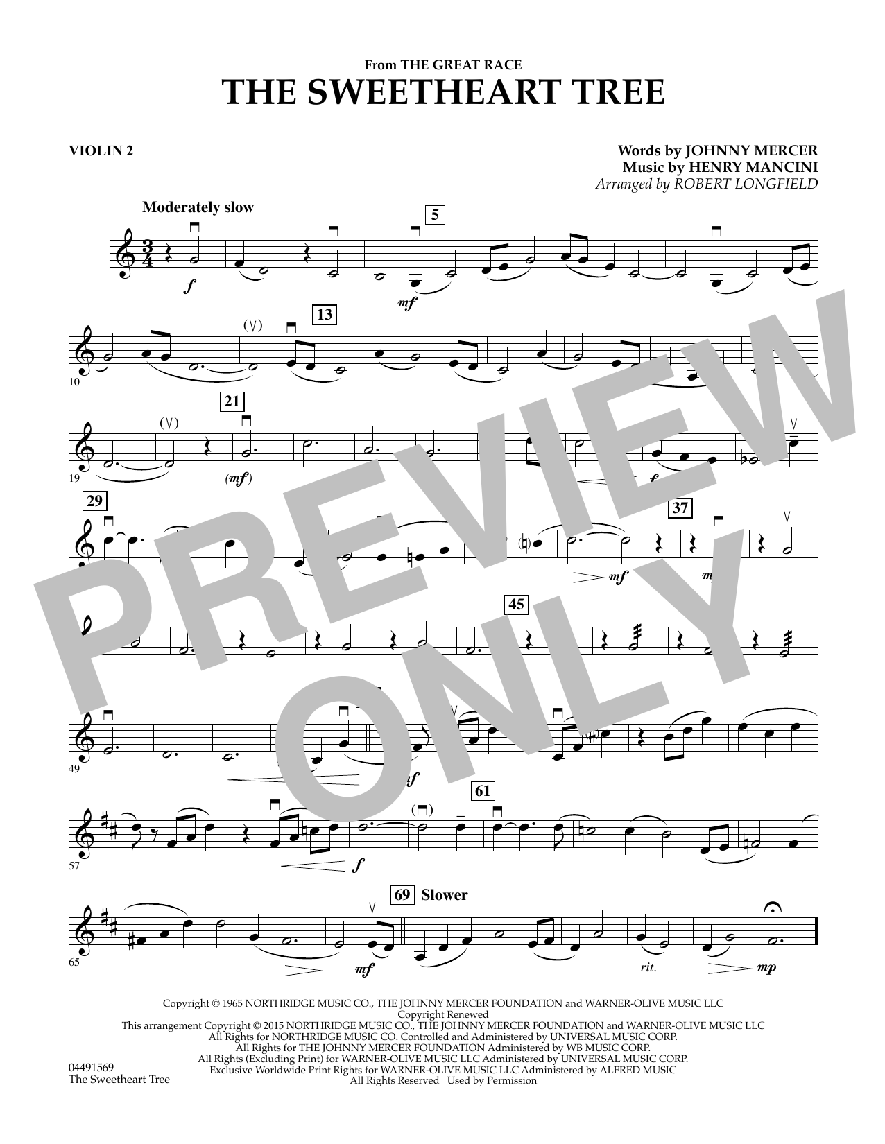 Robert Longfield The Sweetheart Tree - Violin 2 sheet music preview music notes and score for String Quartet including 1 page(s)
