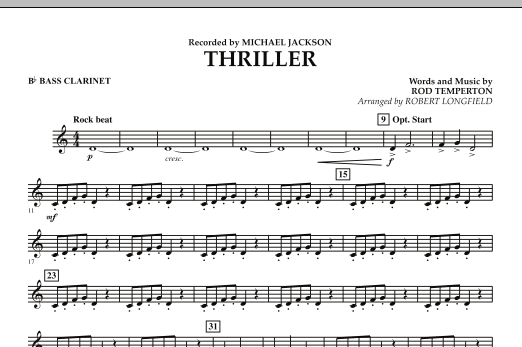 Robert Longfield Thriller - Bb Bass Clarinet sheet music preview music notes and score for Concert Band including 1 page(s)