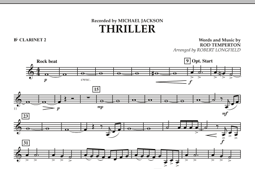Robert Longfield Thriller - Bb Clarinet 2 sheet music preview music notes and score for Concert Band including 1 page(s)