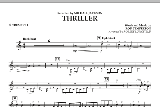 Robert Longfield Thriller - Bb Trumpet 1 sheet music preview music notes and score for Concert Band including 1 page(s)
