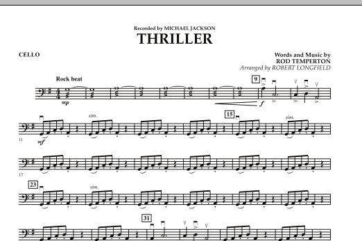 Robert Longfield Thriller - Cello sheet music preview music notes and score for Orchestra including 1 page(s)