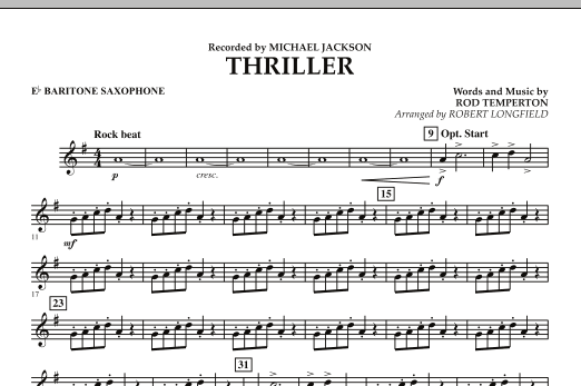Robert Longfield Thriller - Eb Baritone Saxophone sheet music preview music notes and score for Concert Band including 1 page(s)