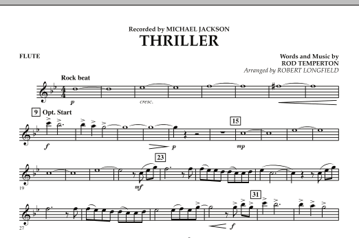 Robert Longfield Thriller - Flute sheet music preview music notes and score for Concert Band including 1 page(s)