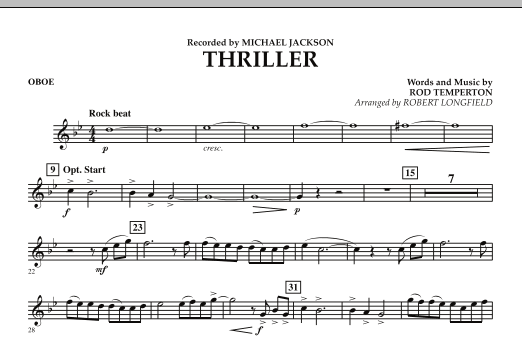 Robert Longfield Thriller - Oboe sheet music preview music notes and score for Concert Band including 1 page(s)