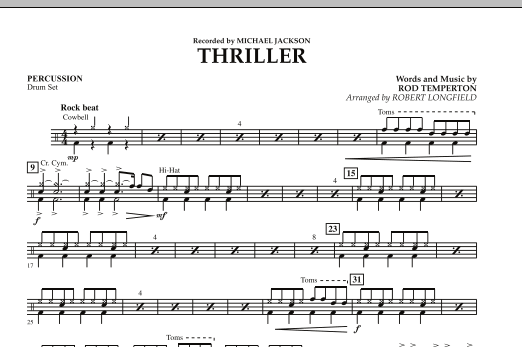 Robert Longfield Thriller - Percussion sheet music preview music notes and score for Orchestra including 1 page(s)