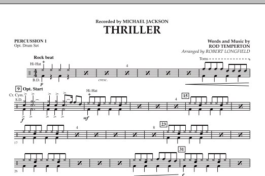 Robert Longfield Thriller - Percussion 1 sheet music preview music notes and score for Concert Band including 1 page(s)