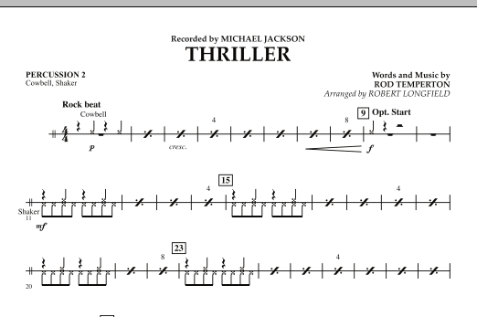 Robert Longfield Thriller - Percussion 2 sheet music preview music notes and score for Concert Band including 1 page(s)