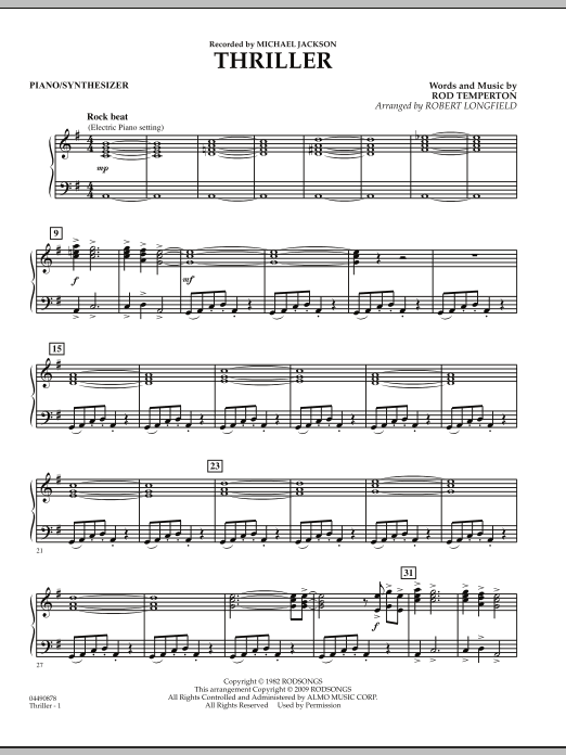 Robert Longfield Thriller - Piano sheet music preview music notes and score for Orchestra including 2 page(s)