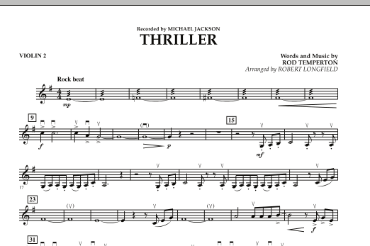 Robert Longfield Thriller - Violin 2 sheet music preview music notes and score for Orchestra including 1 page(s)