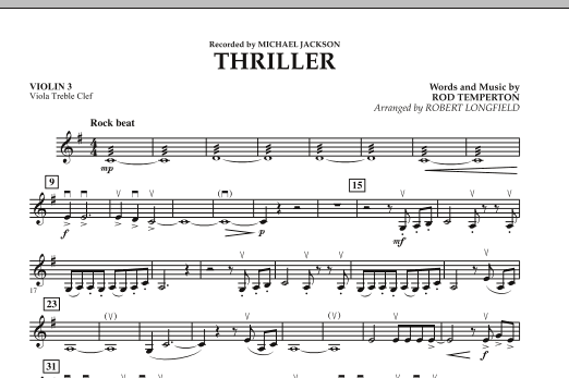Robert Longfield Thriller - Violin 3 (Viola T.C.) sheet music preview music notes and score for Orchestra including 1 page(s)