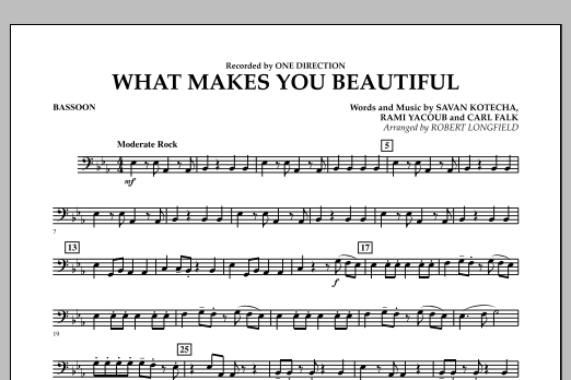 Robert Longfield What Makes You Beautiful - Bassoon sheet music notes and chords