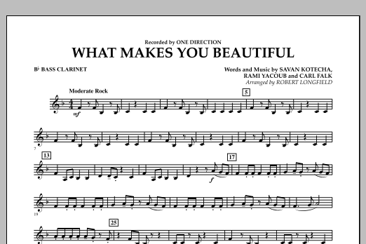 Robert Longfield What Makes You Beautiful - Bb Bass Clarinet sheet music notes and chords