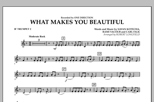 Robert Longfield What Makes You Beautiful - Bb Trumpet 2 sheet music notes and chords