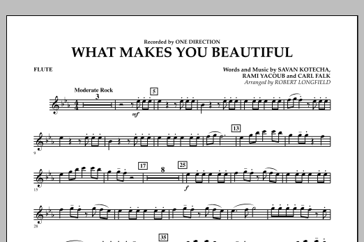 Robert Longfield What Makes You Beautiful - Flute sheet music notes and chords
