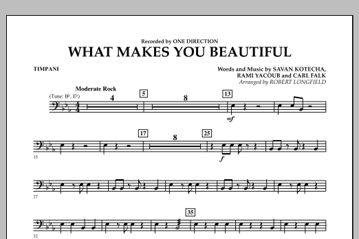 Robert Longfield What Makes You Beautiful - Timpani sheet music notes and chords