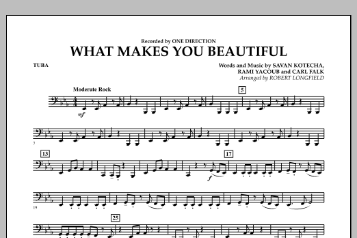 Robert Longfield What Makes You Beautiful - Tuba sheet music notes and chords