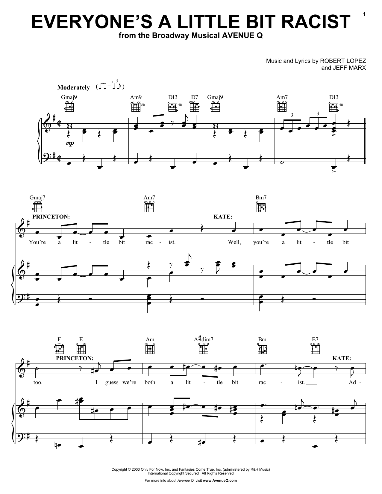 Avenue Q Everyone's A Little Bit Racist sheet music preview music notes and score for Piano, Vocal & Guitar (Right-Hand Melody) including 12 page(s)