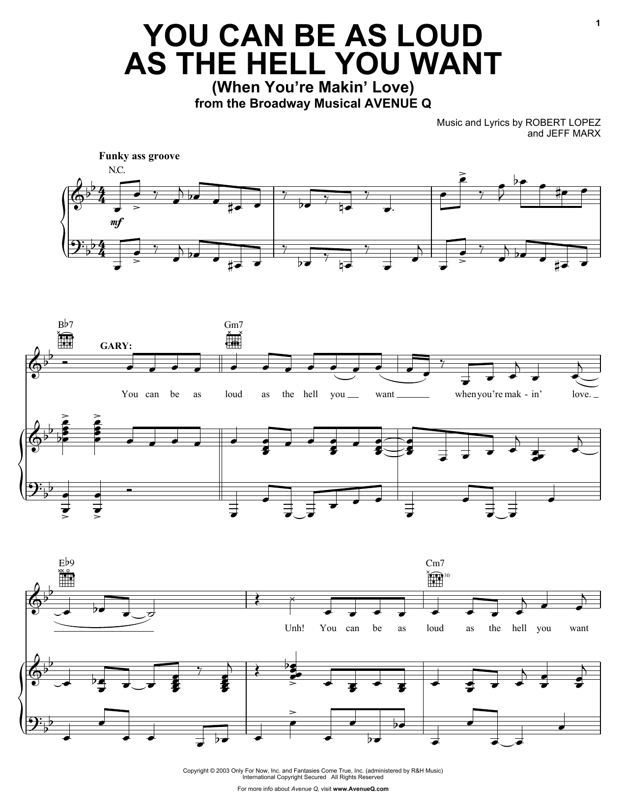 Avenue Q You Can Be As Loud As The Hell You Want (When You're Makin' Love) sheet music preview music notes and score for Piano, Vocal & Guitar (Right-Hand Melody) including 7 page(s)