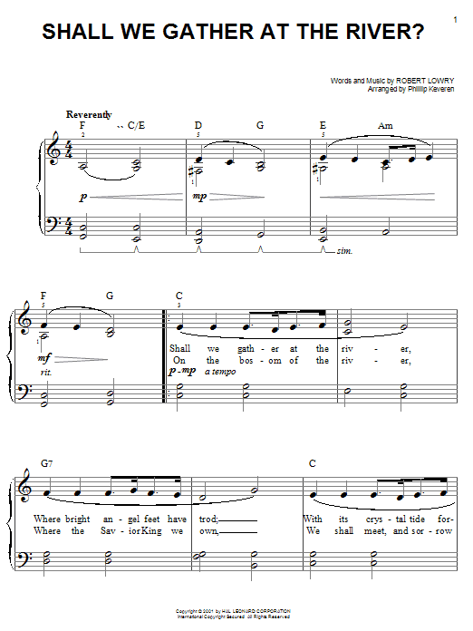 Robert Lowry Shall We Gather At The River? sheet music preview music notes and score for Ukulele including 2 page(s)