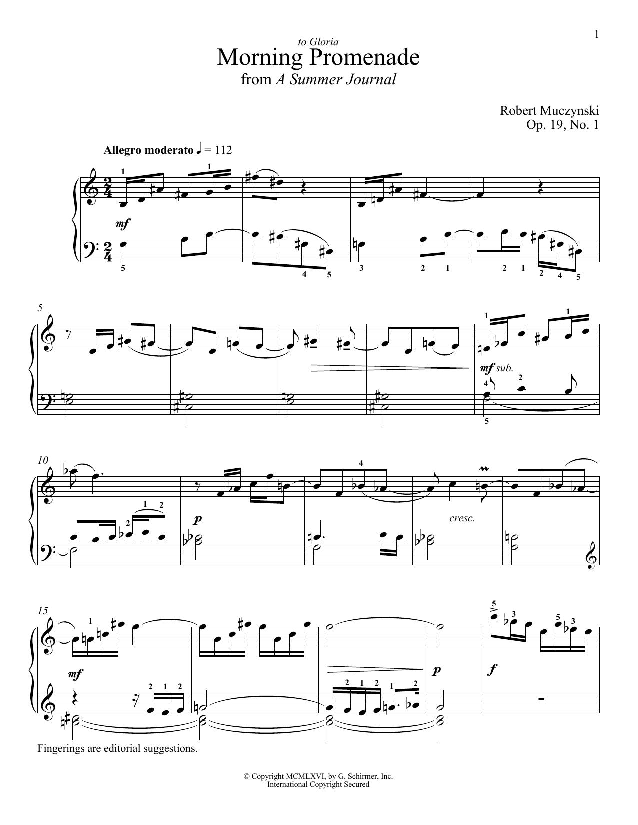 Download Robert Muczynski 'Morning Promenade' Digital Sheet Music Notes & Chords and start playing in minutes