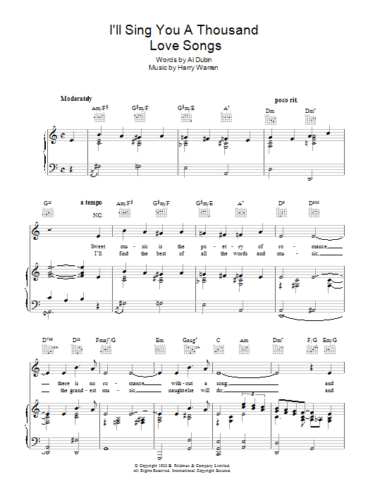 Robert Paige I'll Sing You A Thousand Love Songs sheet music preview music notes and score for Piano, Vocal & Guitar (Right-Hand Melody) including 4 page(s)