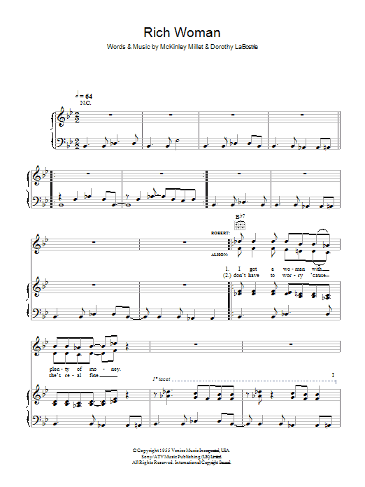 Robert Plant and Alison Krauss Rich Woman sheet music preview music notes and score for Piano, Vocal & Guitar (Right-Hand Melody) including 5 page(s)