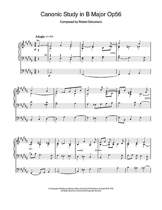 Robert Schumann Canonic Study in B Major Op56 sheet music notes and chords