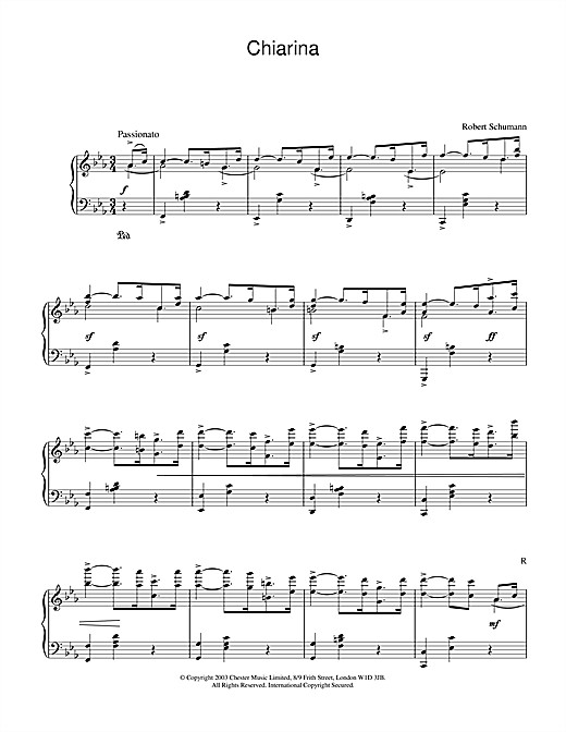 Download Robert Schumann 'Chiarina' Digital Sheet Music Notes & Chords and start playing in minutes