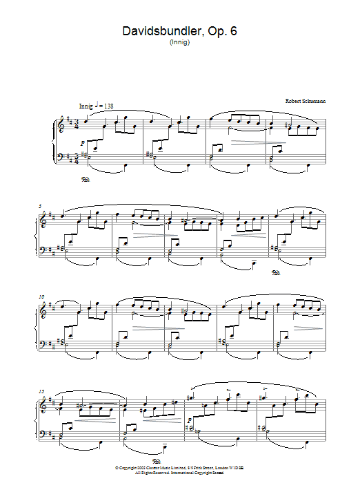 Robert Schumann Davidsbundler, Op. 6 (Innig) sheet music preview music notes and score for Piano including 3 page(s)