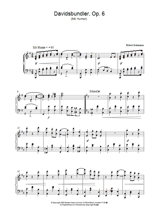 Robert Schumann Davidsbundler, Op. 6 (Mit Humor) sheet music preview music notes and score for Piano including 4 page(s)