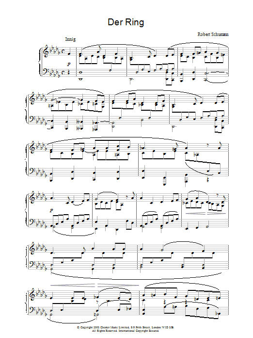 Robert Schumann Der Ring sheet music preview music notes and score for Piano including 3 page(s)