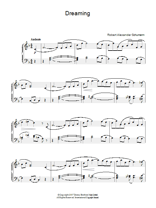 Robert Schumann Dreaming sheet music preview music notes and score for Piano Solo including 3 page(s)